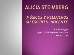Alicia Steimberg Músicos y relojeros El espíritu