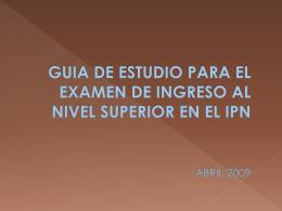 GUIA DE ESTUDIO PARA EL EXAMEN DE INGRESO AL NIVEL