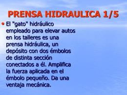 PRENSA HIDRAULICA - LOS FLUIDOS EN LA TECNOLOGIA