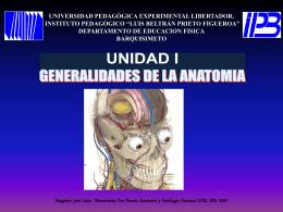 GENERALIDADES DE LA ANATOMIA Unidad Nº 1