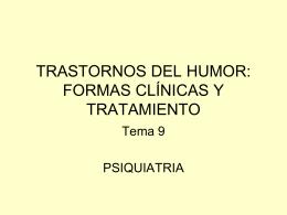 TRASTORNOS DEL HUMOR: FORMAS CLÍNICAS Y