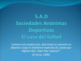 S.A.D Sociedades Anónimas Deportivas