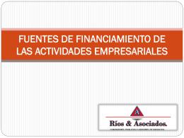 FUENTES DE FINANCIAMIENTO DE LAS ACTIVIDADES