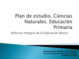 Plan de estudio. Ciencias Naturales. Educación