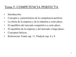 Tema 5: COMPETENCIA PERFECTA