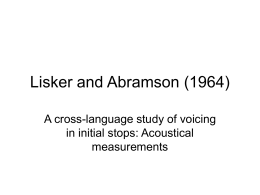 Lisker and Abramson (1964)