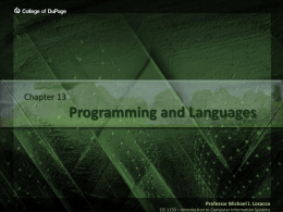 Programming Languages - College of DuPage