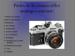 Partes de la cámara reflex analógico exterior.