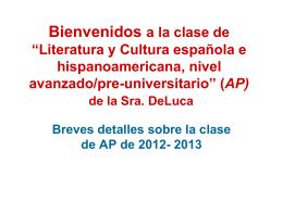 Bienvenidos a la clase AP Spanish Literature and