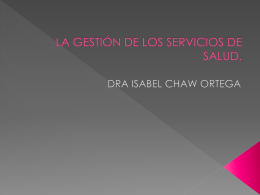 LA OFERTA Y DEMANDA EN LOS SERVICIOS DE SALUD