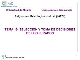 TEMA 10. SELECCIÓN Y TOMA DE DECISIONES DE LOS