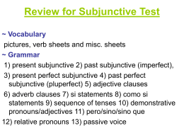 Review for Subjunctive Test