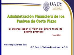 Administración Financiera de los Pasivos de Corto