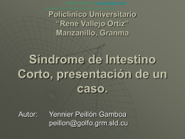 Síndrome de Intestino Corto, presentación de un