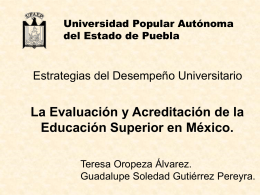 La Evaluación y Acreditación de la Educación