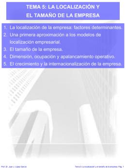 TEMA 5 LA LOCALIZACIÓN Y EL TAMAÑO DE LA EMPRESA