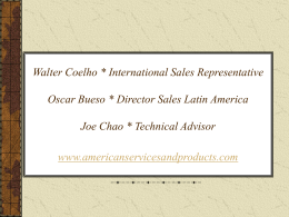 Walter Coelho International Sales Representative