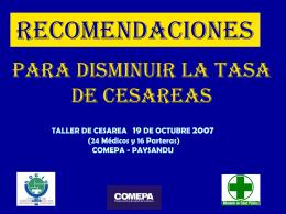 PARA DISMINUIR La tasa DE CESAREAS - SOGIU -