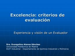 Excelencia: criterios de evaluación