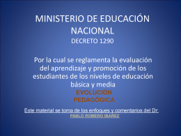 MINISTERIO DE EDUCACIÓN NACIONAL DECRETO 1290