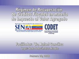 Régimen de Recuperación de Créditos Fiscales en