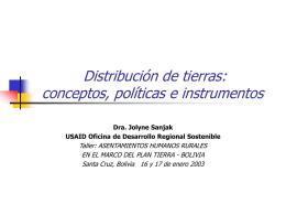 Distribución de tierras: Conceptos, políticas e