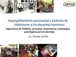 TALLER: DERECHOS HUMANOS Y ATENCIÓN PSICOSOCIAL A