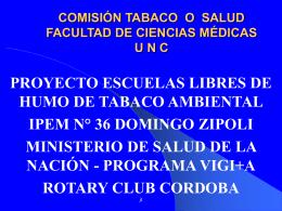 PROYECTO ESCUELAS LIBRES DE HUMO DE TABACO