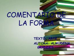 COMENTARIO DE LA FORMA