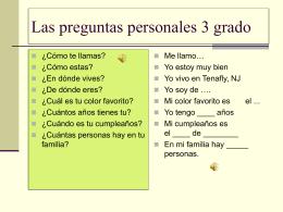 Las preguntas personales 3 grado