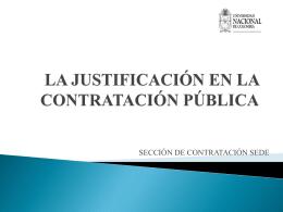 LA JUSTIFICACIÓN DE LA CONTRATACIÓN PÚBLICA
