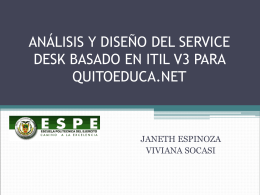 ANÁLISIS Y DISEÑO DEL SERVICE DESK BASADO EN ITIL