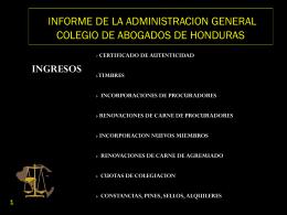 INFOME SITUACION ACTUAL DEL COLEGIO DE ABOGADOS DE