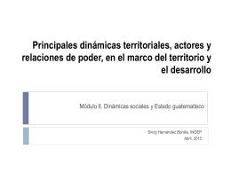 Principales dinámicas territoriales, actores y