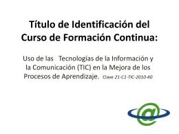 Título de Identificación del Curso de Formación