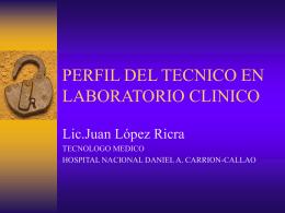 PERFIL DEL TECNICO EN LABORATORIO CLINICO
