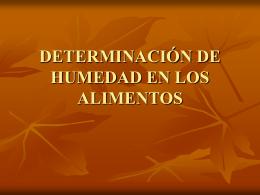 DETERMINACIÓN DE HUMEDAD EN LOS ALIMENTOS