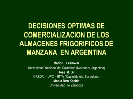 DECISIONES OPTIMAS DE COMERCIALIZACION DE LOS