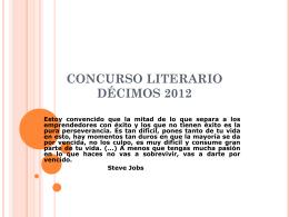 CONCURSO LITERARIO DÉCIMOS 2012