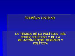 PRIMERA UNIDAD LA TEORIA DE LA POLÍTICA, DEL PODER