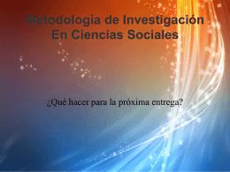 Metodología de Investigación En Ciencias Sociales