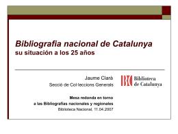 La Bibliografia nacional de Catalunya, veinticinco