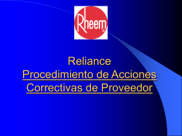 Reliance – Corrective Action