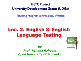 ENGLISH & ENGLISH LANGUAGE TESTING