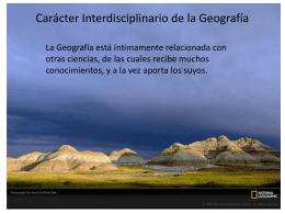 Carácter Interdisciplinario de la Geografía