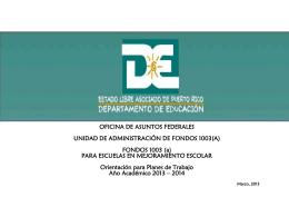 Orientación sobre fondos 1003 (a) para escuelas en