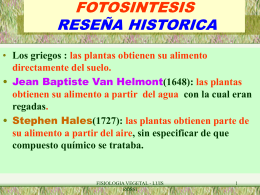 FOTOSINTESIS RESEÑA HISTORICA