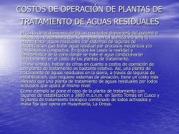 COSTOS DE OPERACIÓN DE PLANTAS DE TRATAMIENTO DE