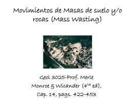 Movimientos de Masas de suelo y/o rocas (Mass