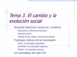 Los modelos de sociedad: tradición, modernidad y